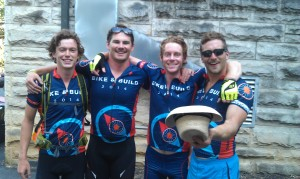 Cyclists (l-r) Andrew Byrum, Aaron Handely, Michael Prechter and Dan McMahon