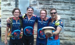 Cyclists (l-r) Andrew Byrum, Aaron Handely, Michael Prechter and Dan McMahon