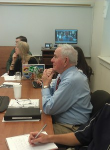 Gene Foreman, former Philly Inquirer m.e., Skype-ing with former NYTimes reporter Roy Reed (on monitor in the background)
