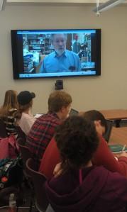 Roy Reed, Skype-ing from Arkansas into W&L journalism classroom