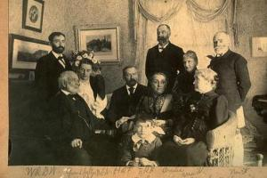 Random ancestors: upper left, my great-grandfather Walter Rufus Boyden Whittier, and in front of him and his bride Mimi Fletcher, Mimi's grandfather, Lowell, Mass., newspaper editor, congressman and abolitionist Chauncey Knapp.