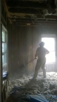 Steve tearing down ceiling