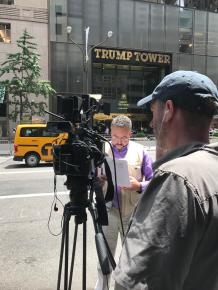 Camera crew at Trump Tower